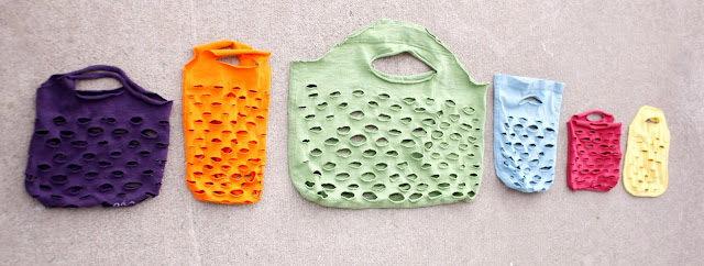 Сделать сумки-авоськи на все, практически, случаи жизни из старых футболок, детских трикотажных вещей и даже из...
