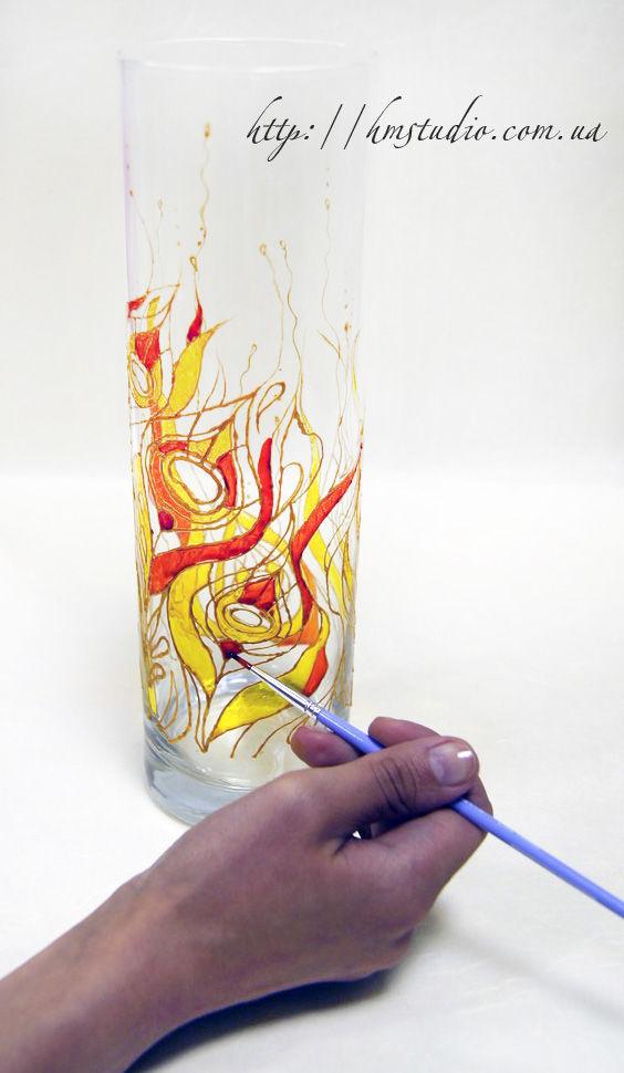 Как роспись по стеклянной вазе
