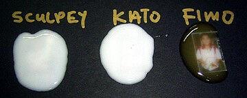 Заливка незапеченного геля на картинку показывает, что Sculpey и Kato непрозрачные, белого цвета, а FIMO самый прозрачный.