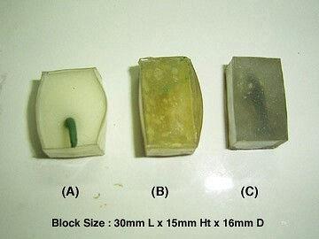 Все эти блоки были запечены и подвергнуты повторной термообработке при 150°С в течение 45 минут. Самый прозрачный по-прежнему Fimo Deko Gel.   Взгляд сверху:    (А) Блок Translucent Liquid Sculpey слишком растекся из-за воздушных пузырьков.    (В) Блок Kato Polyclay растекся меньше, в нем меньше пузырьков и непрозрачных вкраплений, он прозрачней, чем TLS.    (С)Блок Fimo Liquid Deko Gel самый прозрачный, практически не растекся и без пузырьков.