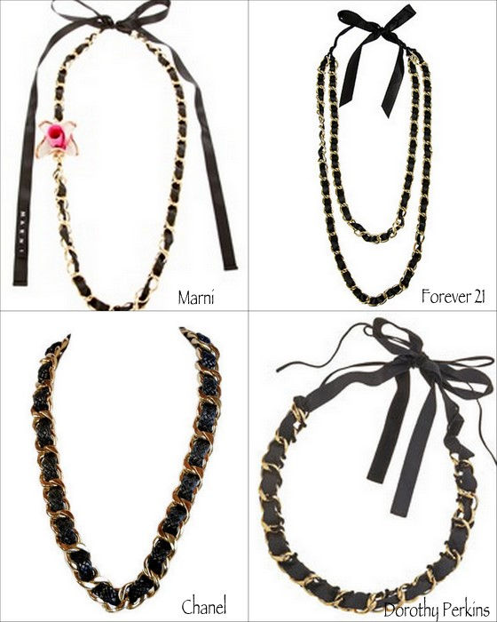 designer inspired chain and ribbon woven necklace