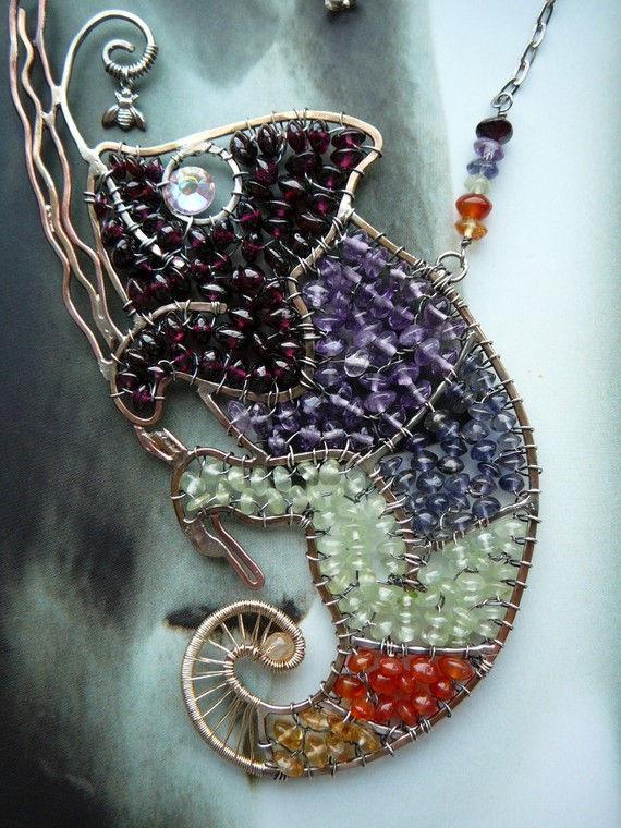 wire work jewelry chameleon