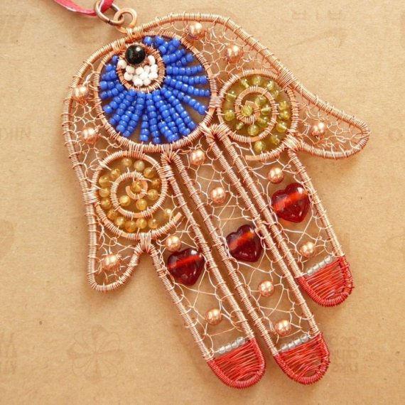 wire work jewelry hamsa hand 2