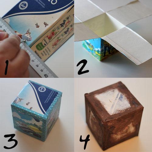 Как сделать кубик из коробки для молока.