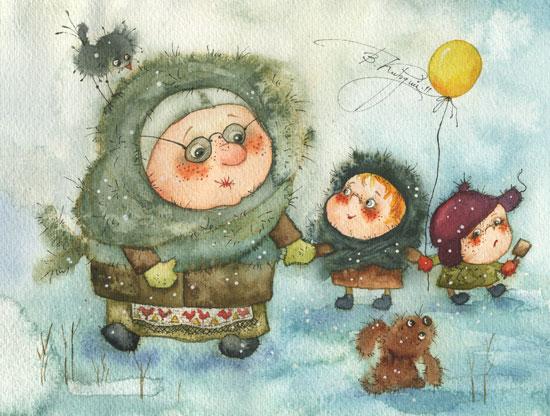 Добрые новогодние картинки Виктории Кирдий. 68943