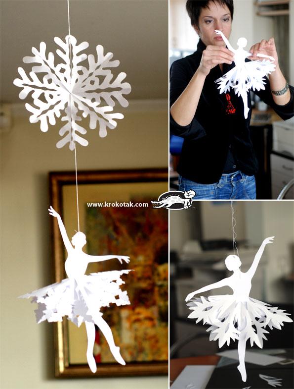 Балерина из снежинки своими руками