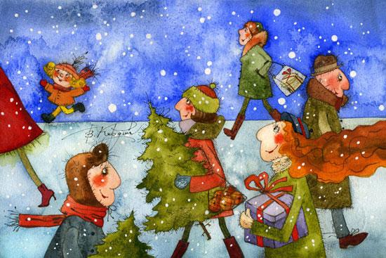 Добрые новогодние картинки Виктории Кирдий. 75998