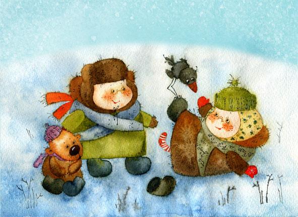 Добрые новогодние картинки Виктории Кирдий. 48328