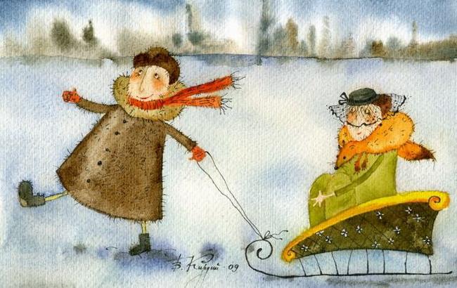 Добрые новогодние картинки Виктории Кирдий. 25628