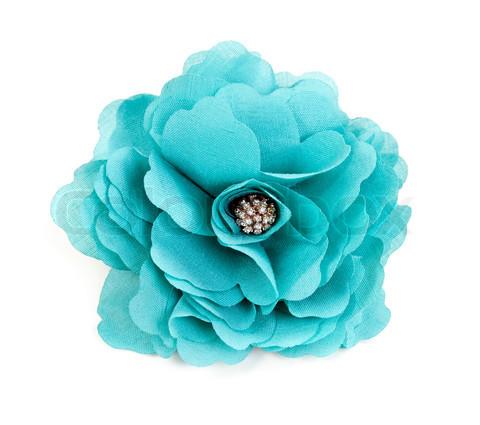 turquoise fabric flower