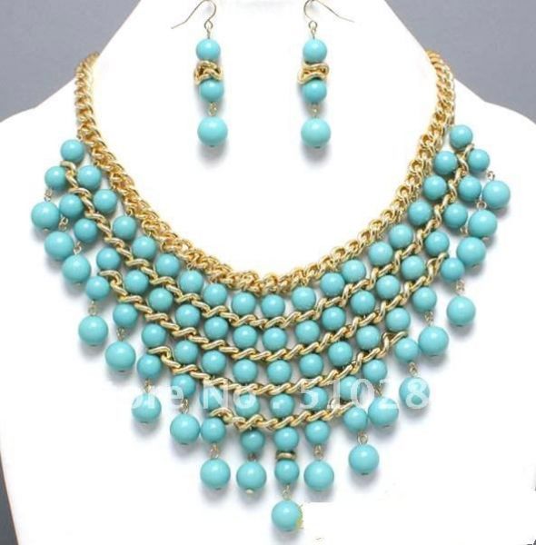 Free-ship-green-turquoise-beads-tassels-design-charm-necklace-earring-set-jewelry-set-five-color-you
