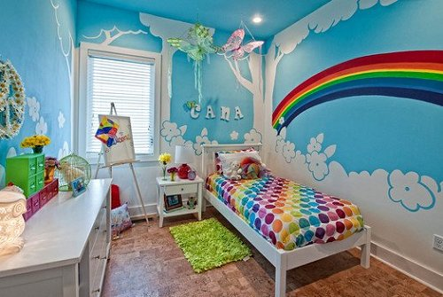 rainbow bedroom decorating-rainbow theme bedroom ideas