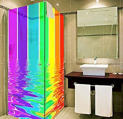 rainbow shower screen wallpaper-rainbow bathroom decorating
