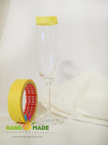 Декор свадебного бокала