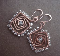 small copper square spiral wire wrapped earrings 2