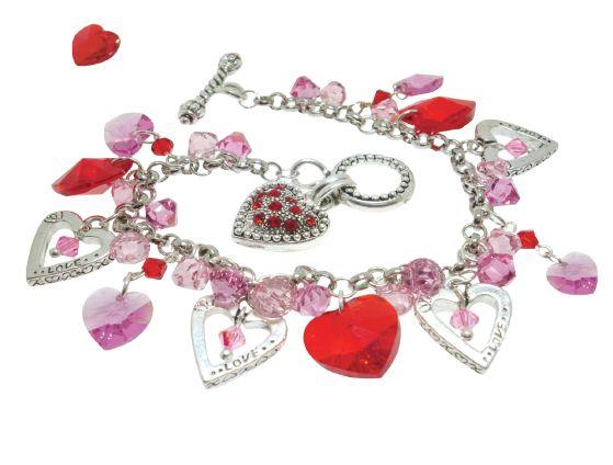 swarovski floating heart charm bracelet