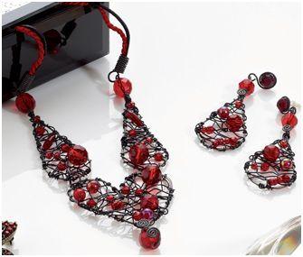 wire work heart jewelry set