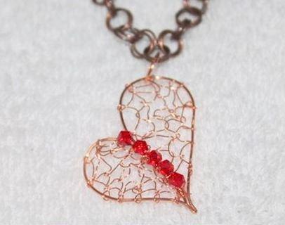 wire woven heart pendant tutorial