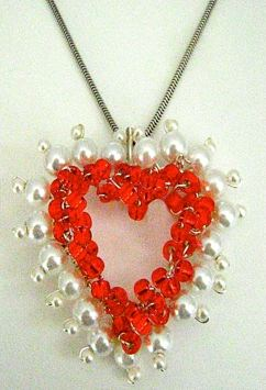 wirewrapped red heart pearl pendant