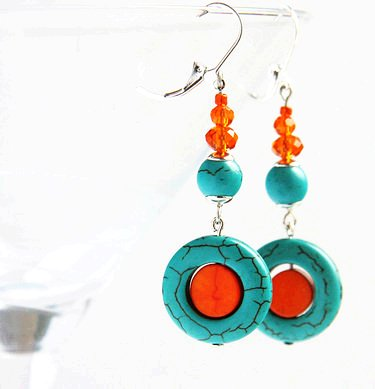 orange blue turquoise earrings. swarovski crystals - long earrings - by kapkadesign - dawanda-f96068