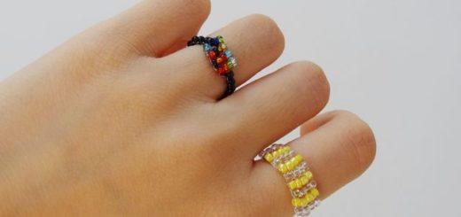 кольцо из проволоки и бисера
