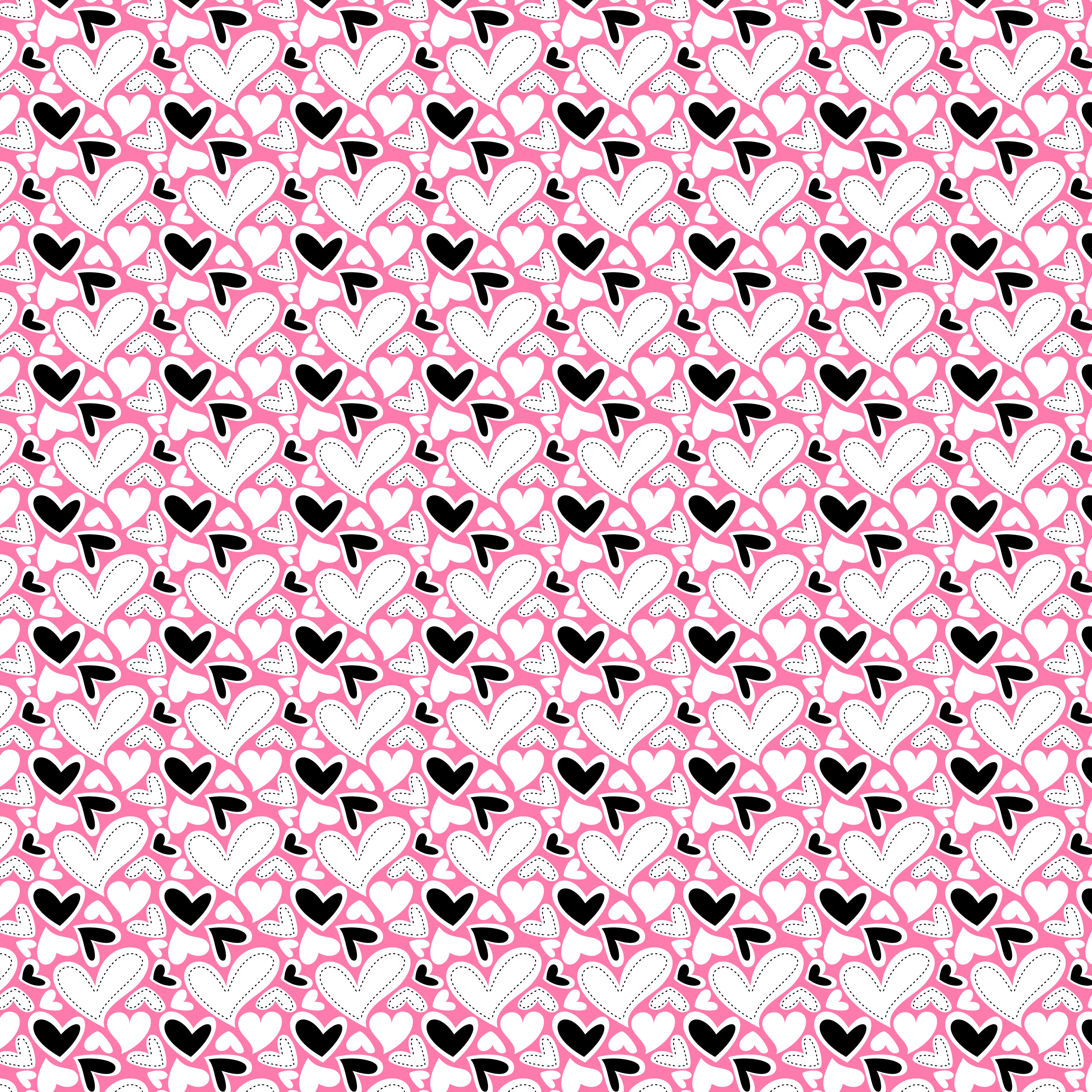 FabNFree-3111-StitchyHearts-PinkBlack-Paper