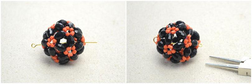 Ожерелье из бисера - Как сделать ожерелье с кулоном шарик из бисера на Хэллоуин.