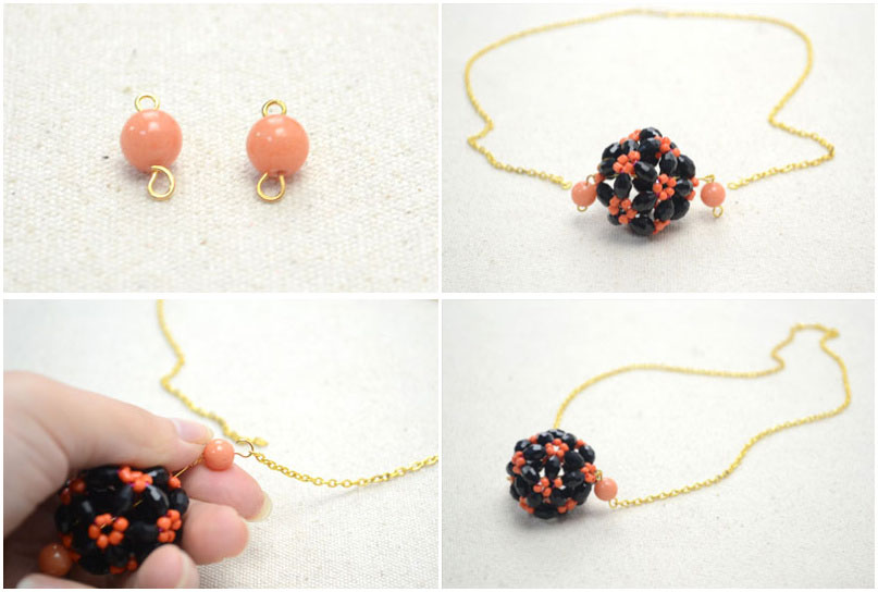 Сегодня мы покажем Вам, как сделать из бисера ожерелье в форме мяча из граненых и овальных стеклянных бусин.
