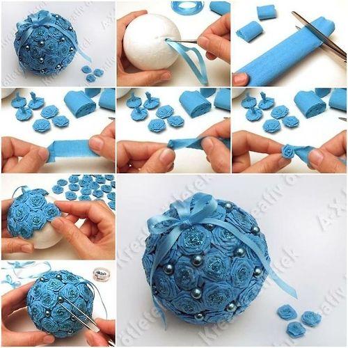Новогодние шары из пенопластовых шариков своими руками