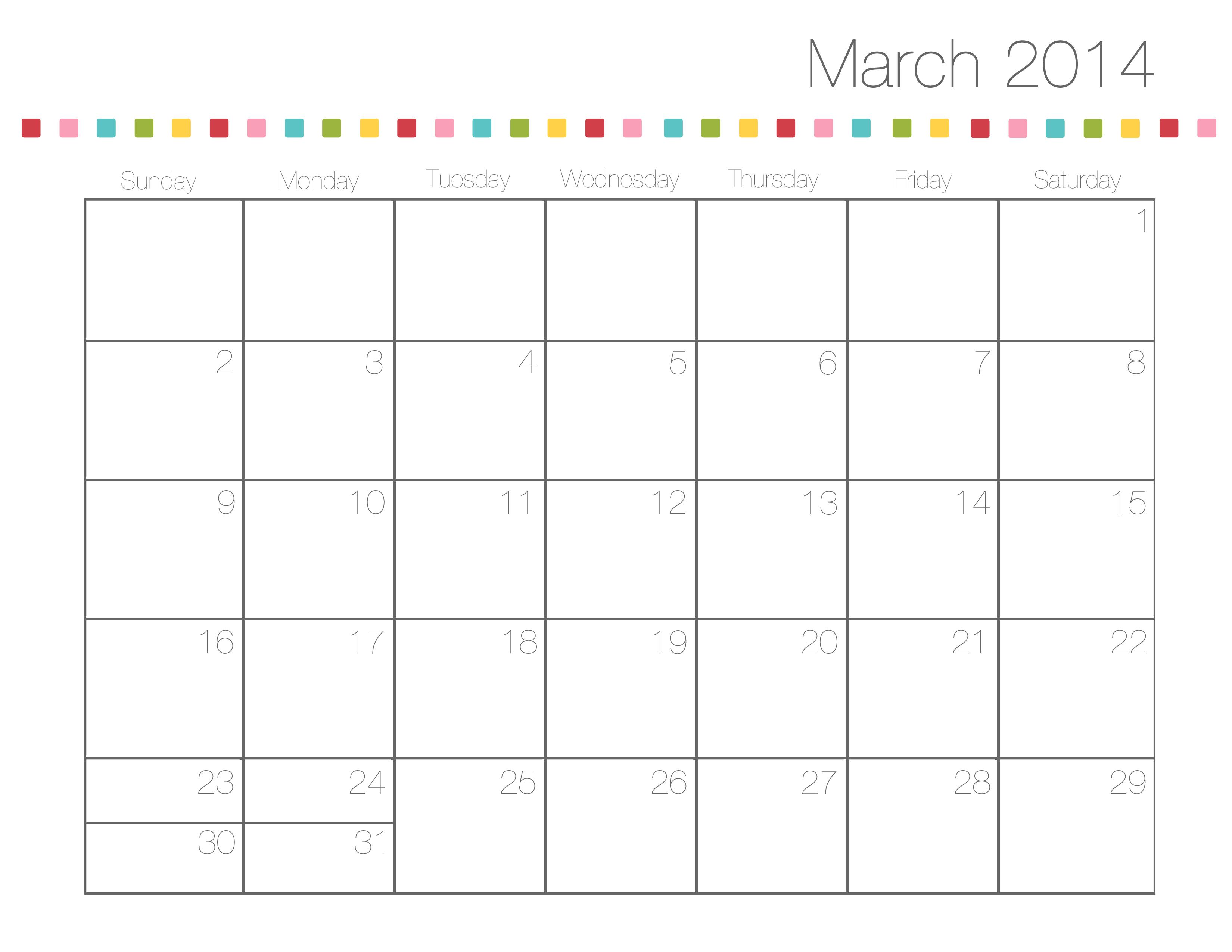 March April May 2014 Calendar Cute april 2014 calendar