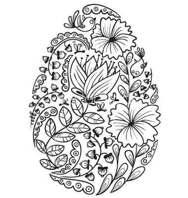Cute Doodle Floral  Easter Egg