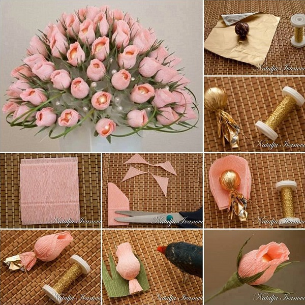 diy-rose-wedding-arrangement-rosebuds-ferrero-rocher-chocolates3
