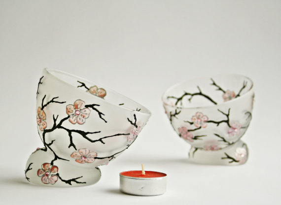 Candle Holder - Ice Cream bowls Sakura Cherry Blossom