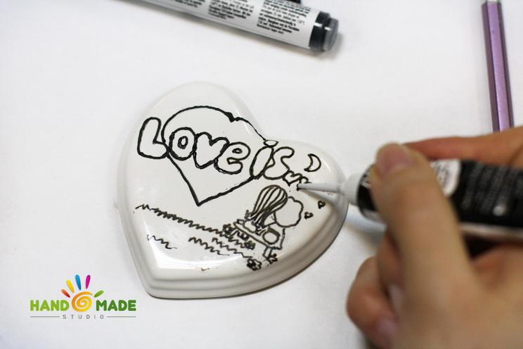 роспись керамического сердца
