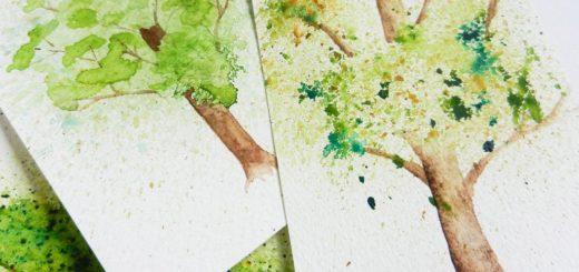 Рисование дерева акварелью