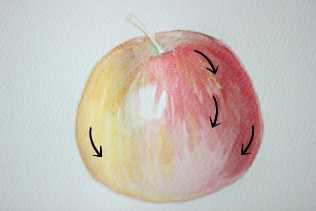 Возьмите немного красной краски и повторите тоже самое, не забываю про контур яблока.