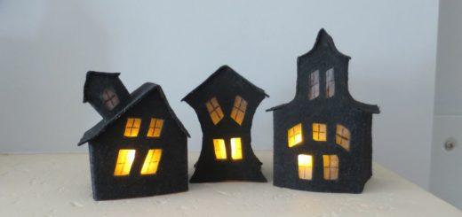 Жуткий дом-светильник из фетра