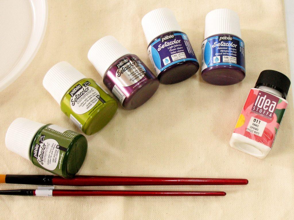 краски для ткани, сумка и кисти