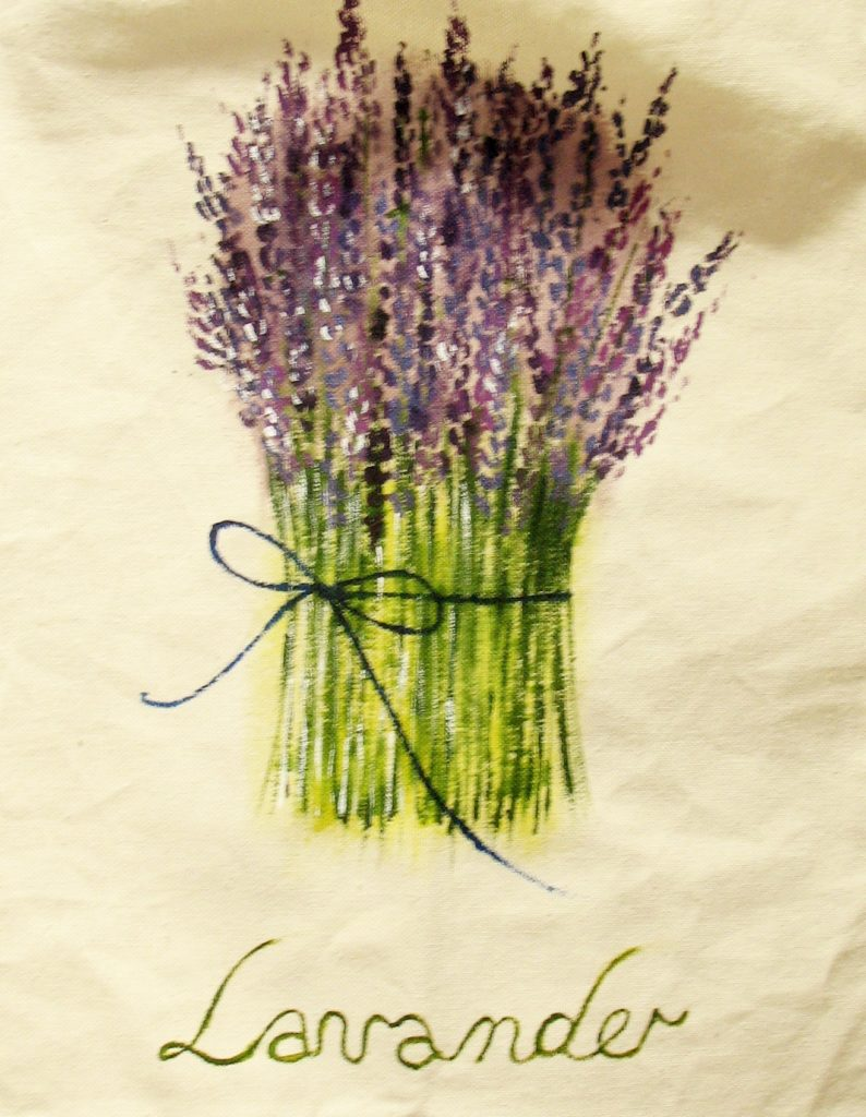 Рисуем букет лаванды на сумке красками для ткани
