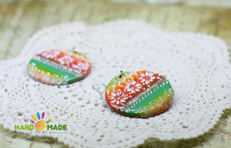 Сережки в этно-стиле из полимерной глины