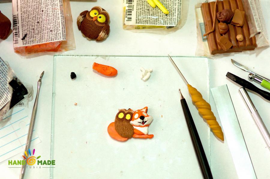 лиса и сова из полимерной глины