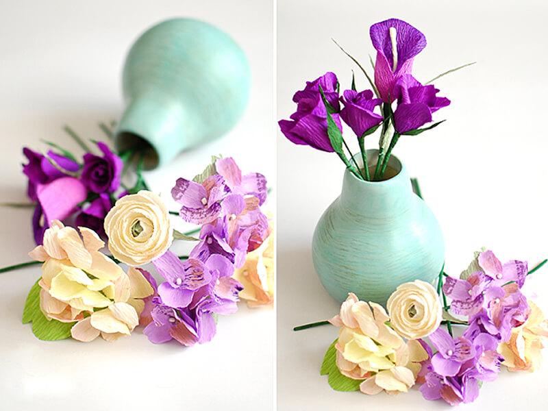 Гофрированные цветы из ткани